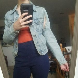 distressed light wash denim jacket